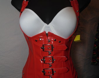Red Faux Leather Under Bust Halter Corset.