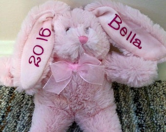 Plush Bunny, Easter Plush Bunny, Monogram Plush Bunny, Personalized Bunny, Plush Personalized Bunny, 8 inch personalized bunnny
