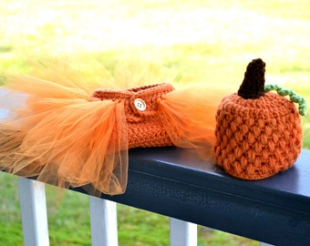 Newborn Pumpkin Outfit - Newborn Pumpkin Diaper Cover Tutu and Pumpkin Hat - Newborn Photo Prop - Newborn Fall Pumpkin Costume