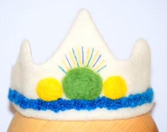 Multicolour Spot Felt Birthday Crown, Crown Birthday, Crown made of felt, Birthday Hat, Boys Birthday, Party Crown, Waldorf, Handmade Crown