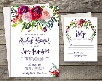 Pink Red Rose Peony Floral Bridal Shower Invitation Printable Boho Chic Invitation Bohemian Invite Modern Typography Fall / Winter Party