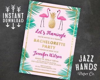 Let's Flamingle Printable Bachelorette Invitation Template | Flamingo Invitation | Bachelorette | Flamingos | Pineapple | Palms | Invites