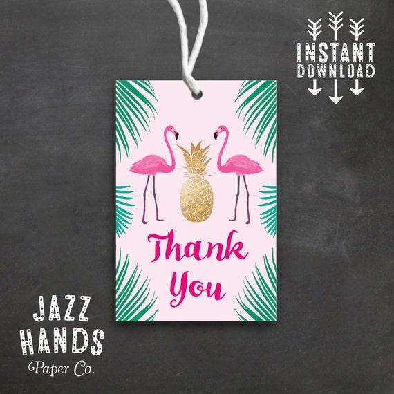 tropical flamingo favor tags diy printable pineapple