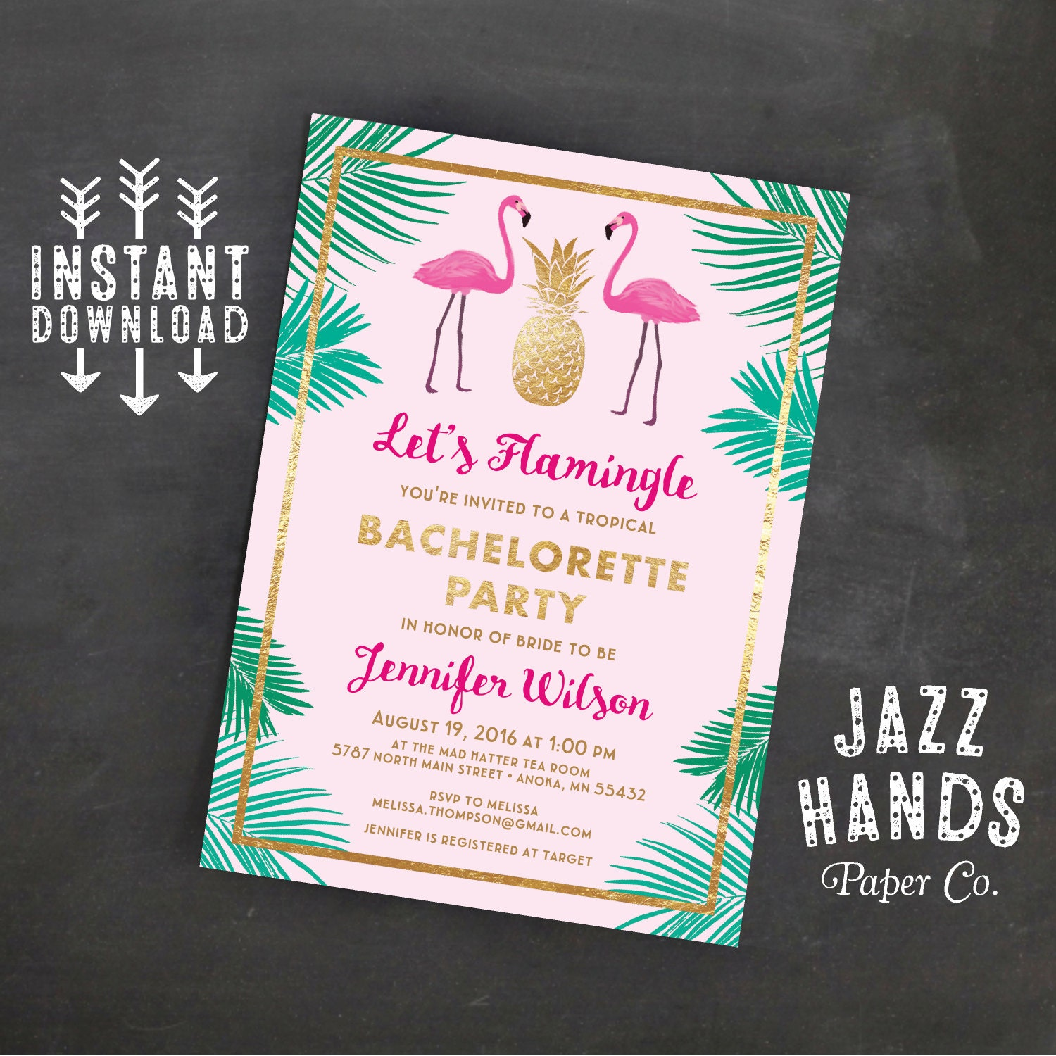 Let\'s Flamingle Printable Bachelorette Invitation Template
