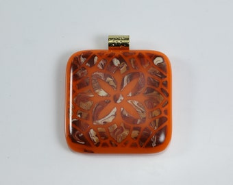 Flower Shape Fused Glass Hand Painted Orange and Rust Pendant Square Glass Pendant