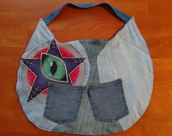 UniCat Bag - Cat Purse - Tote, Hand painted recycled denim