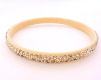 Celluloid Rhinestone Bangle Bracelet