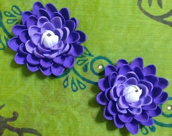 Pistachio Shell Flower Magnets - Set of Two - Purple