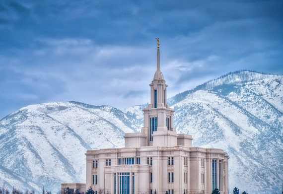 Payson Utah Lds Temple Snowy Winter Scene By Kevinnedmiller