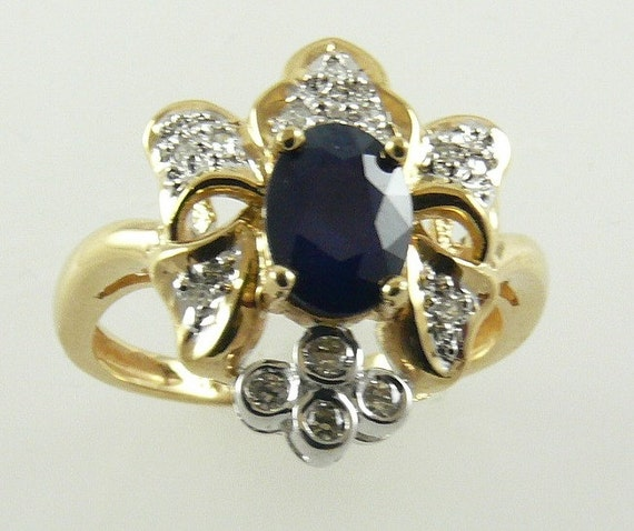 Sapphire 1.10ct Ring with Diamonds 0.20ct 14k Yellow Gold