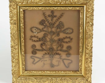 Mourning hair wreath Victorian antique shadowbox frame initials FLD 19th c