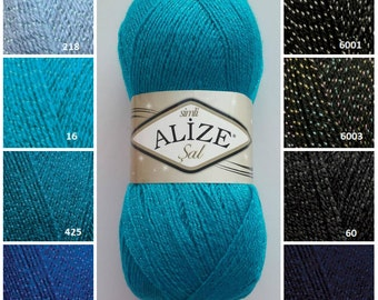 ALİZE Şal, knitting supplies, soft yarn, knitting yarn , klasik knit yarn, soft yarn, crochet yarn, yarn for accessories, silver yarn,