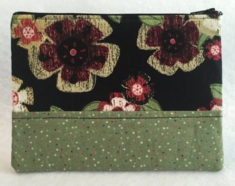 Maroon Flower Zipper Pouch -- Purse Organizer -- Make Up Bag