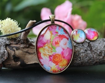 Handmade Jewelry, Floral Jewelry set, Necklace with Flowers, Autumn mood