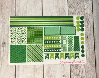 St. Patrick's Day Themed Planner Stickers- Made to fit Horizontal Layout
