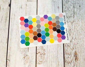 MINI SIZE Hexagons Planner Stickers in Mulit-Color -Planners//Personal Size  Planner