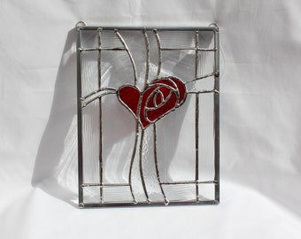Stained Glass Heart Cross Panel - Red