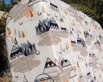 Woodland Nursery Bedding, Fitted Crib Sheet, Changing pad Cover, Teepees, Woodland Oak, Art Gallery Indian Summer, Woodland Crib Bedding,