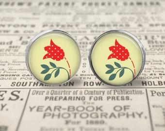 Flower Earrings, 16mm Stud or Dangle Earrings, Flower Studs, Flower Jewelry, Red Yellow Flower, Floral Jewelry, Floral Earrings