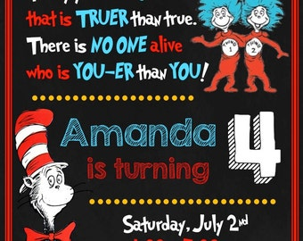 Dr. Seuss Birthday Invitation - The Cat and the Hat