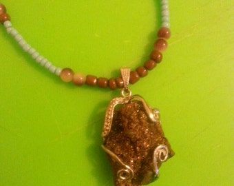 Chocolate druzy seed bead necklace