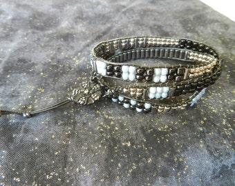 Handmade Leather Beaded Bracelet