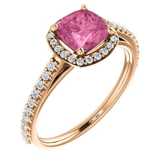Morganite Engagement Ring Cushion Cut Morganite Ring 2 Carat