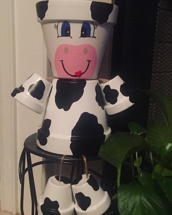 Vache personnes pot de fleur fleur pot int rieur d cor for Vache decorative interieur