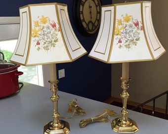 Lamp, Solid Brass, Candlestick Lamp with Lithographed Shade