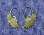 """Tribal Hanging Earrings, """"Wings of Autumn"""" Naturally Organic, Mother of Pearl, Brass Tops, Sterling Silver Posts, Hand Carved"""