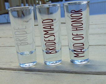 Personalized shot glasses. Bridesmaids gifts. Maid of Honor gifts, Custom glasses, Wedding favors, Bridal shower gifts