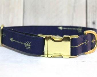 Midnight Blue with Gold Arrows Dog Collar