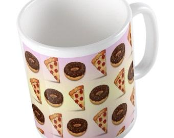 Emoji Pizza and Donuts mug