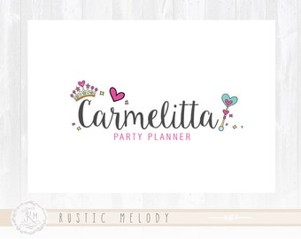 Party Logo Girl Logo Princess Logo Design  Watermark Photography Logo Boutique Logo Premade Logo