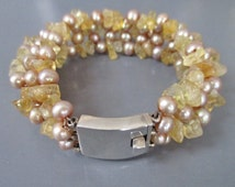 Pearl Citrine Silver Bracelet 1950s Wired 835 Silver Fresh Water Pearl Chunky Cuff  Pink Yellow UK Seller Brighton