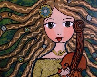 "Fiddle Girl ""Ivey""  , whimsical folk art, violin, gifts"