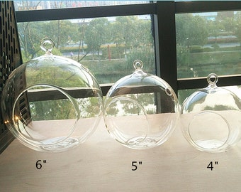 "Air plant holders-4""/5""/6"" glass orb terrarium//indoor garden planter vase//hanging succulent holder"