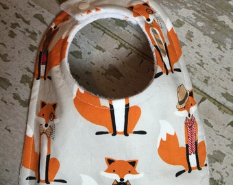 baby bibs/ Well dressed fox bib/orange baby bib