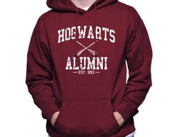 Hogwrts Alumni White print printed on Forest green, Maroon, Navy Hoodie