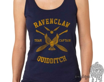 CAPTAIN - Ravencl Quidditch team Captain YELLOW print on Female tank (Gildan Softstyle junior 64200L)