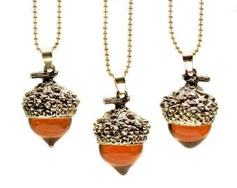 Oak Acorn necklace, Autumn necklace, Oak autumn acorn necklace, Glass Acorn Necklace,  Autumn necklace acorn pendant