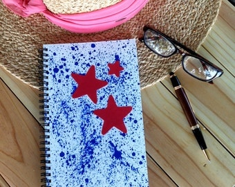 Hand Painted Spiral Journal; Collage Art on Wire Bound Blank Notebook; Writing Journal; Small Sketchbook; Red Stars
