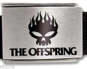 The Offspring Fire Skull Web Belt w/Enamel Inlay-Dexter Holland-Vintage!!