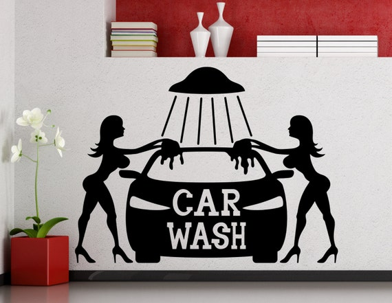 car wash wall sticker sexy girls car washing logo auto service. Black Bedroom Furniture Sets. Home Design Ideas