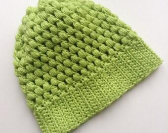 Zesty lime puff stitch beanie hat