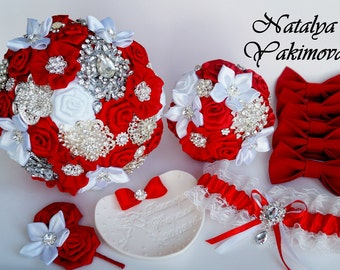 Brooch Bouquet, Bridal Bouquet, Wedding Bouquet, Fabric Bouquet, Unique Bouquet, Toss bouquet, Wedding Accessories,Wedding set, Red White