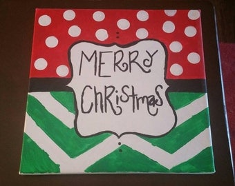 12x12 Merry Christmas Polka dot and Chevron Acryllic Painting