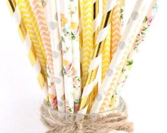 Floral paper straws-set of 25- garden party straws, tea party straws, flower straws, floral straws, vintage floral straws, wedding straws