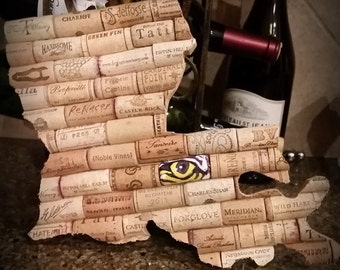 LOUISIANA - Wine Cork - LSU Tiger Eye -  Monogram - Art - Board - Trivet - Decor - Home - Vino - Gift - Wall - Corkboard - LSU
