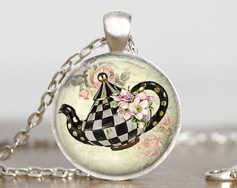 Tea pot necklace Tea Pot Pendant Jewelry Tea Lover Gift For Mom Tea Party gift Teapot keychain Keyfob Mothers Day Gift for Friend